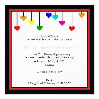 Civil Partnership Rainbow Heart Wedding Invitation
