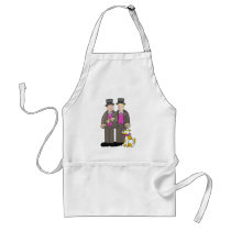 Civil union gay marriage two men and a dog. adult apron