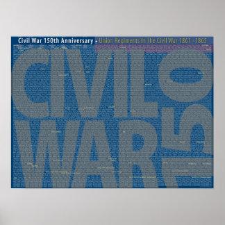 Civil War 150 Union Regiments Art Poster