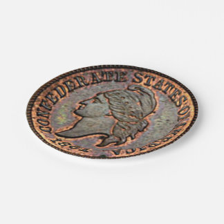 Civil War 1861 Copper Penny Confederate Paper Plate