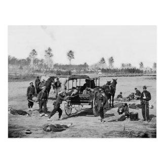 Civil War Ambulance Crew Postcard