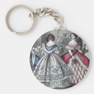 Civil War Antebellum Fashion Ladies Ball Gown Basic Round Button Keychain