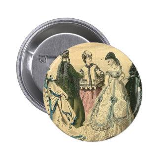 Civil War Antebellum Fashion Ladies Ball Gown Pinback Buttons
