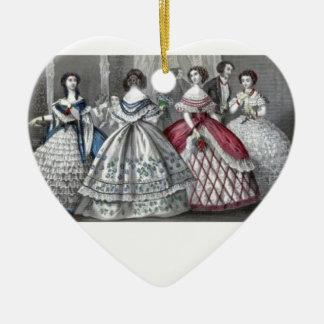 Civil War Antebellum Fashion Ladies Ball Gown Ceramic Ornament