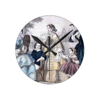 Civil War Antebellum Fashion Ladies Ball Gown Round Wall Clocks