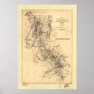 Civil War Atlanta Campaign Map September 1, 1864 Poster