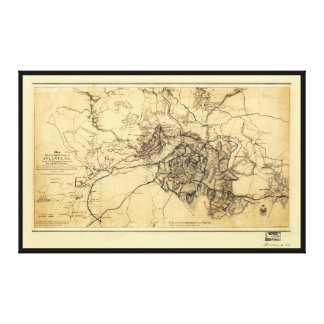 Civil War Atlanta Ga. Map (July 19 - Aug 26 1864) Canvas Print