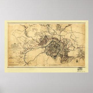Civil War Atlanta Ga. Map (July 19 - Aug 26 1864) Poster