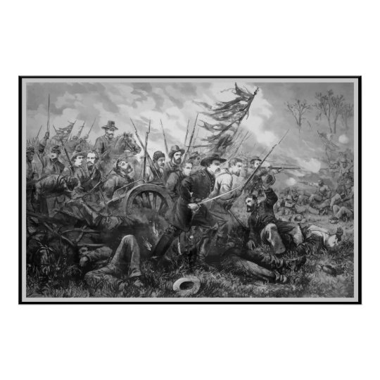 Civil War Battle Charge -- Black Border Poster