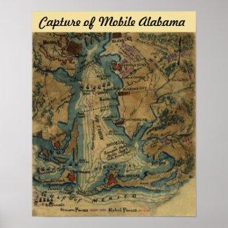 Civil War - Capture of Mobile Alabama - Map Poster