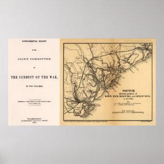 Civil War Coastal Map South Carolina Poster
