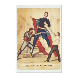 Civil War Death of Colonel Ellsworth Currier Ives Canvas Print