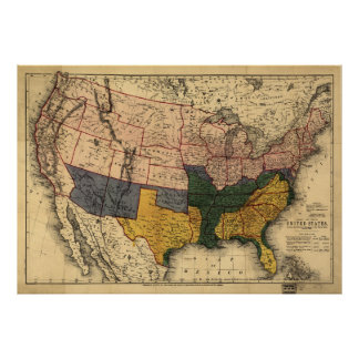 Civil War Era Map of the United States (Jan 1864) Poster