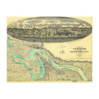 Civil War Era Map of Vicksburg Mississippi 1863 Canvas Print