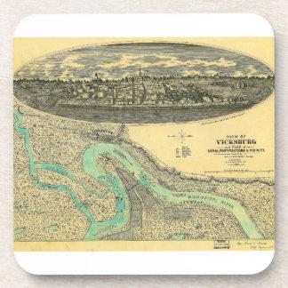 Civil War Era Map of Vicksburg Mississippi 1863 Coaster