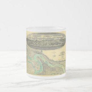 Civil War Era Map of Vicksburg Mississippi 1863 Frosted Glass Coffee Mug