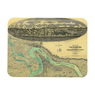 Civil War Era Map of Vicksburg Mississippi 1863 Magnet