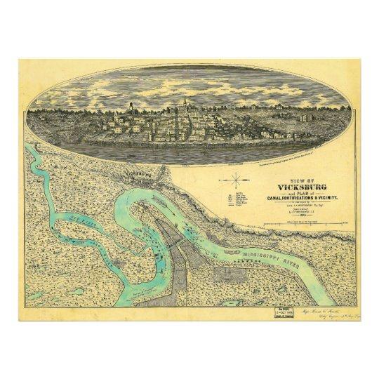 Civil War Era Map of Vicksburg Mississippi 1863 Photo Print