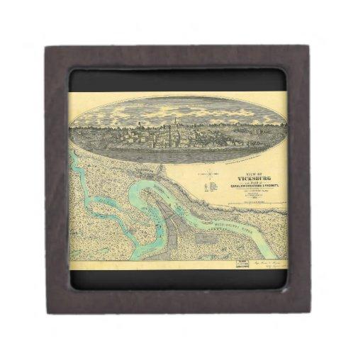 Civil War Era Map of Vicksburg Mississippi 1863 Premium Gift Boxes