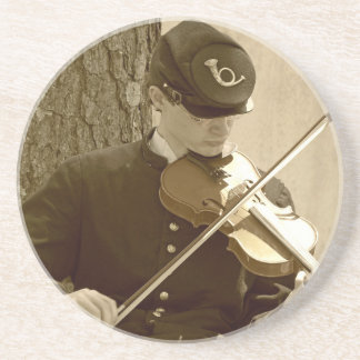 Civil War Fiddle Player Drink Coaster