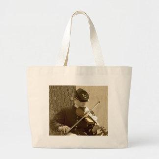 Civil War Fiddle Player Large Tote Bag