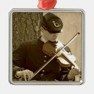 Civil War Fiddle Player Metal Ornament