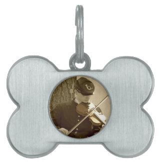 Civil War Fiddle Player Pet ID Tag
