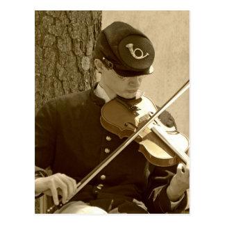 Civil War Fiddle Player Postcard