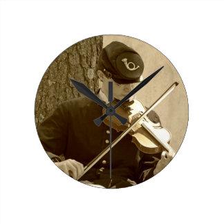 Civil War Fiddle Player Round Clock
