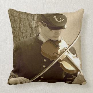 Civil War Fiddle Player Throw Pillow