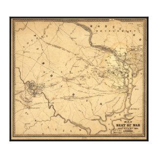 Civil War First Battle of Bull Run Map Seat of War Canvas Print