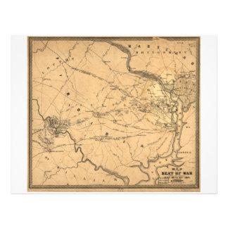 Civil War First Battle of Bull Run Map Seat of War Letterhead