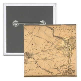 Civil War First Battle of Bull Run Map Seat of War Pinback Button