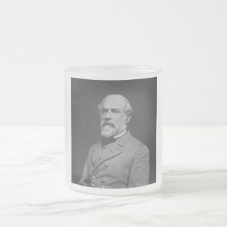 Civil War General Robert E. Lee Frosted Glass Coffee Mug