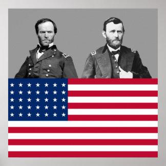 Civil War Generals Sherman and Grant Poster