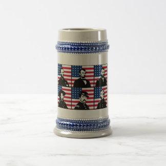 Civil War Heroes and The American Flag 18 Oz Beer Stein
