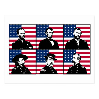 Civil War Heroes and the American Flag Postcard