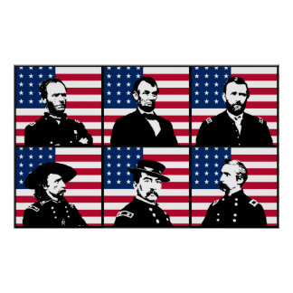 Civil War Heroes and The American Flag Poster