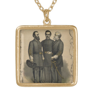 Civil War Heroes Gold Plated Necklace