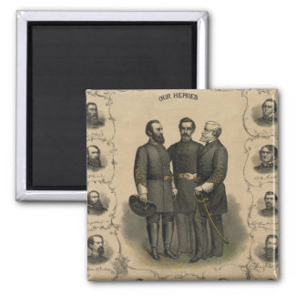 Civil War Heroes 2 Inch Square Magnet