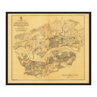 Civil War Knoxville Tennessee Map (1864) Canvas Print