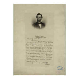 Civil War Letter from Abraham Lincoln to Mrs Bixby Poster