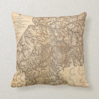 Civil War Map Atlanta Georgia July 19-Aug 26 1864 Throw Pillow