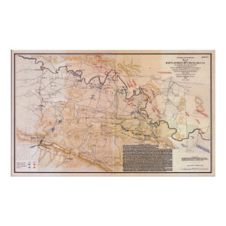 Civil War Map Battlefield of Chickamauga (1863) Poster