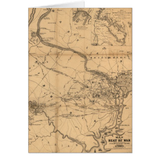 Civil War Map of Battles July 18, 21 & Oct 21 1861 Card