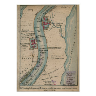 Civil War Map of Defenses of the Mississippi Poster