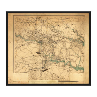 Civil War Map of Richmond and Petersburgh (1864) Canvas Print