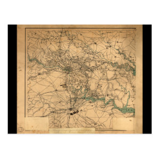 Civil War Map of Richmond and Petersburgh (1864) Postcard