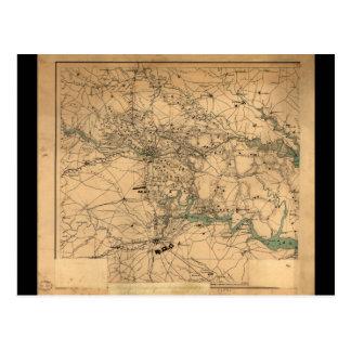 Civil War Map of Richmond and Petersburgh (1864) Postcard