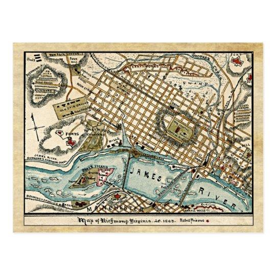 Civil War Map Of Richmond Virginia In 1863 Postcard Zazzle Com